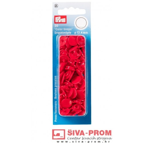 Prym Colour Snaps fasteners-30pcs. 12,4 mm, Red